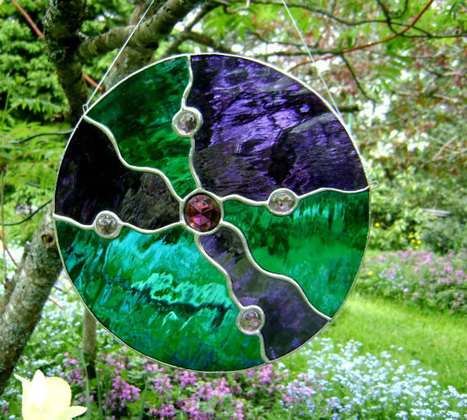 Stained Glass Earth Cycle Abstract Suncatcher Amethyst Purple Housewarming Wedding Birthday Fathers Day Mothers Day Christmas Gifts OOAK | Visualisation | Scoop.it