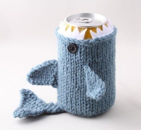 Monster Shark  - for your  Soda Can- Dusty Blue - This monster made it to the front page of Etsy | Scuba Smurf | Scoop.it