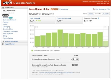 Yelp Official Blog: New Revenue Estimation Tool for Local Businesses | Web Marketing Turistico | Scoop.it
