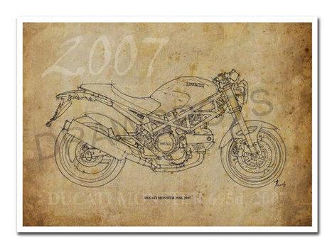 DUCATI MONSTER 695d, 2007, Based on my Original Handmade Drawing, Art Print 11.5x16in, year 2011 | Ducati Art | Scoop.it
