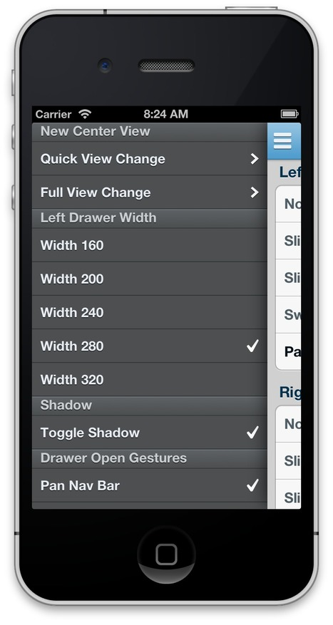MMDrawerController - a side drawer navigation container view controller | iPhoneFanProgramming | Scoop.it