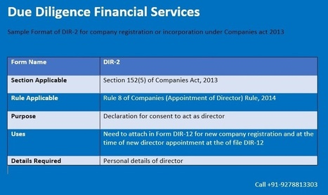Sample Format of DIR-2 for company registration or incorporation under Companies act 2013 | Due Diligence Financial Services | Company Registration in Delhi | Scoop.it