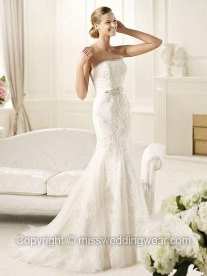 Trumpet/Mermaid Strapless Lace Sweep Train Appliques Wedding Dresses   2014 wedding dress online   Scoop.it