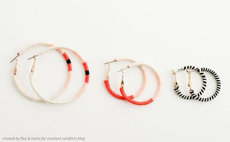 DIY Embroidery Thread Wrapped Earrings - Creature Comforts | Orecchini Fai da Te: i migliori tutorial | Scoop.it