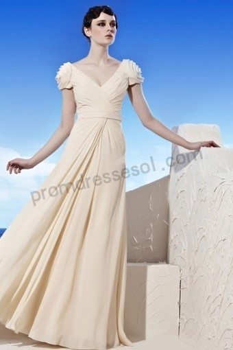Prom dresses 2013 - Apricot V-neck Cap-sleeve Sequins A-line Chiffon Evening Prom Dress WL953 | 2013 new fashion prom dresses | Scoop.it