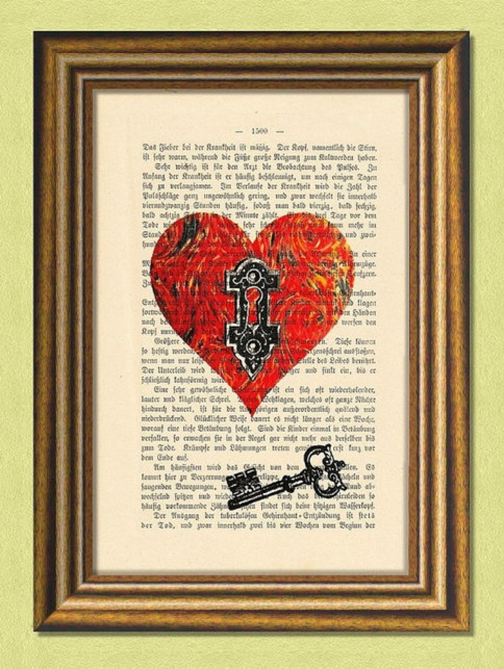 The Key to My Heart - Dictionary art - Antique Book Page upcycled - Art Print Dictionary | For Art's Sake-1 | Scoop.it