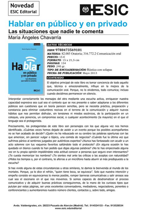 Nuevo libro: HABLAR EN PÚBLICO Y EN PRIVADO. LAS ... | Formación en Competencias | Scoop.it