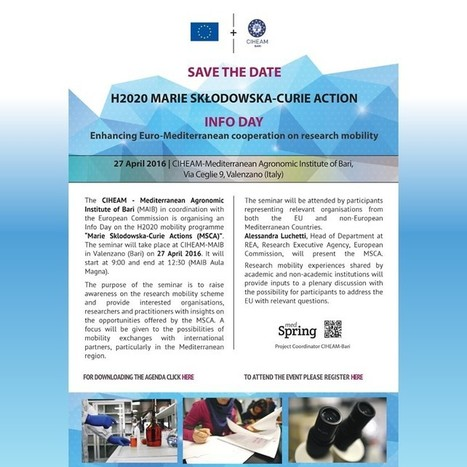 Info Day H2020 – Marie Curie - CIHEAM Bari, 27 Aprile 2016 - Istituto agronomico mediterraneo Bari | FTN press review | Scoop.it