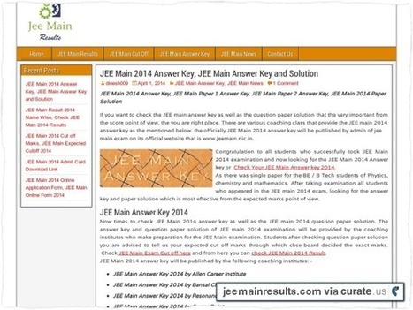 JEE Main Answer Key and Solution Download. | JEE Main 2014 Answer Key Results Cutoff | Scoop.it