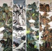 Chinese Four Screens Landscape Paintings for sale! | Artisoo Chinese Painting | Scoop.it