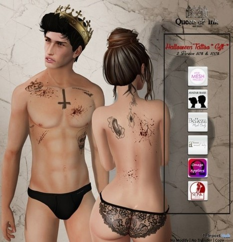 Halloween Unisex Tattoo Lost & Found Event Gift by Queen of Ink | Teleport Hub - Second Life Freebies | Second Life Freebies | Scoop.it