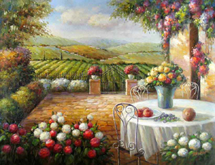 Tuscan Patio in Tuscany Original Oil Painting Art | oil painting | Scoop.it