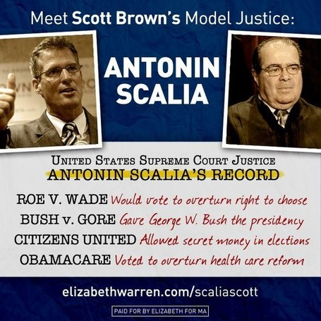 Scott Brown's model Supreme Court Justice: anti-choice conservative Antonin Scalia | Massachusetts Senate Race 2012 | Scoop.it