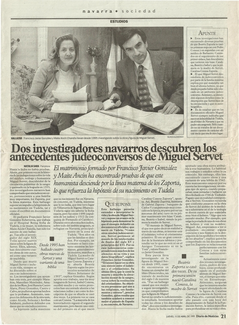 15-04-1999 Diary of News- Proofs of the Jewish converso  heritage of Michael Servetus. | Michael Servetus. Discovered  new works and true Identity. Proofs, lectures and International Congresses. | Scoop.it
