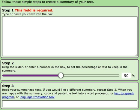 Text Compactor: Free Online Automatic Text Summarization Tool | e-learning resources | Scoop.it