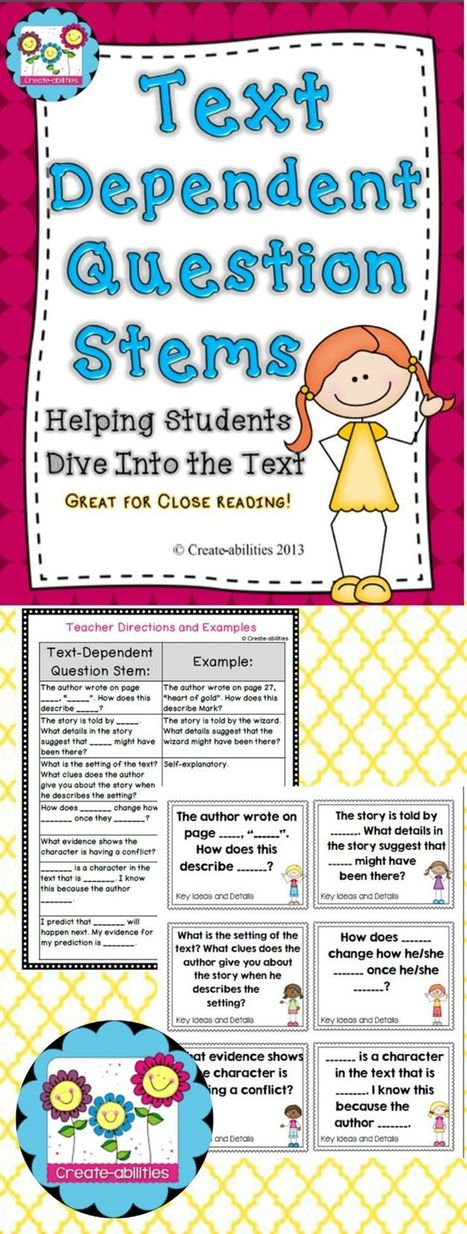 Text-dependent question stems. Great for close reading, literature circles, guid | Reading Resources | Scoop.it