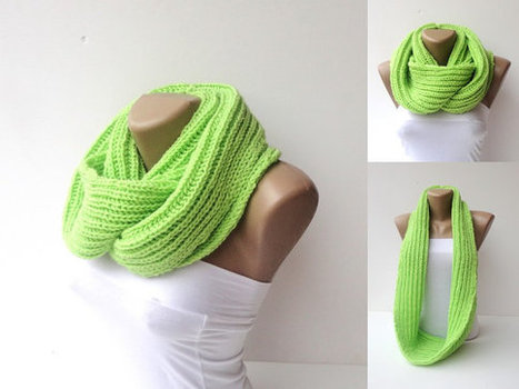 infinity knitted women scarf  women scarf , hand knitted loop circle scarves ,fluorescent  green , Electric Lime,used Rozetti yarn | MY SCARVES | Scoop.it