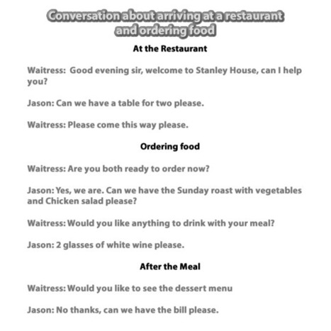 Restaurant conversation arriving and ordering food conversation | Learning Basic English, to Advanced Over 700 On-Line Lessons and Exercises Free | Scoop.it