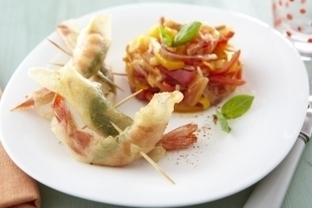 Recette de Croustillant de gambas au basilic et au piment d'Espelette, piperade comme au Pays Basque   Cuisine   Scoop.it