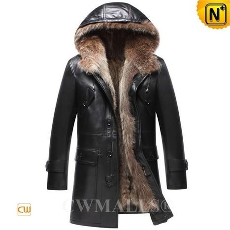 CWMALLS® Black Fur Lined Coat with Hood CW836025 | Fur Lined Mens Coat | Scoop.it