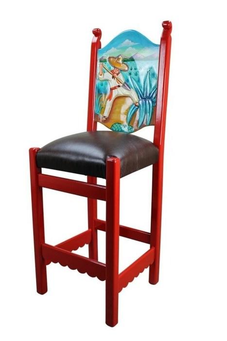 Rustic Mexican Painted Bar Stool Furniture Ru