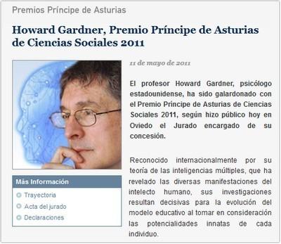 Gardner, Premio Príncipe de Asturias de las ciencias Sociales 2011 | Esther: Inteligencias Múltiples de Howard Gardner | Scoop.it