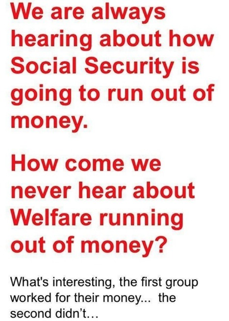 How come we never hear about Welfare $$ running out but SS is running out?   deporte   Scoop.it