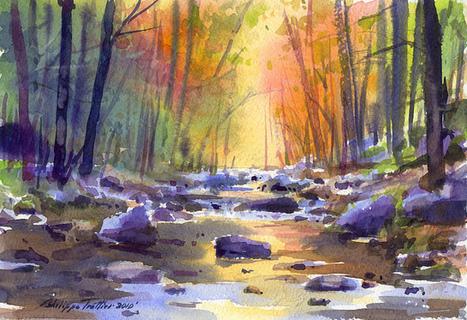 Autumn reflections (Watercolor)   Watercolor   Scoop.it