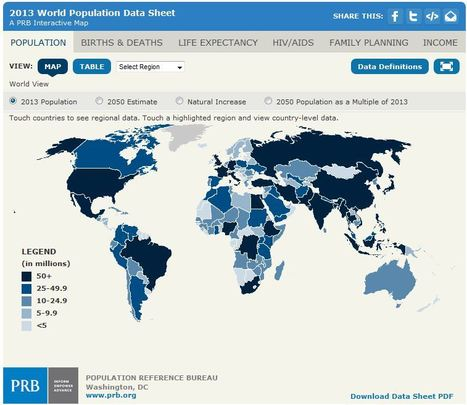 2013 World Population Data Sheet Interactive World Map | Population Reference Bureau | Population & cultural patterns and processes | Scoop.it