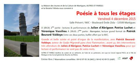 (agenda) 4 décembre, Martigues, Véronique Vassiliou, Patrick Beurard-Valdoye, Julien d'Abrigeon, Patrice Luchet | Poezibao | Scoop.it
