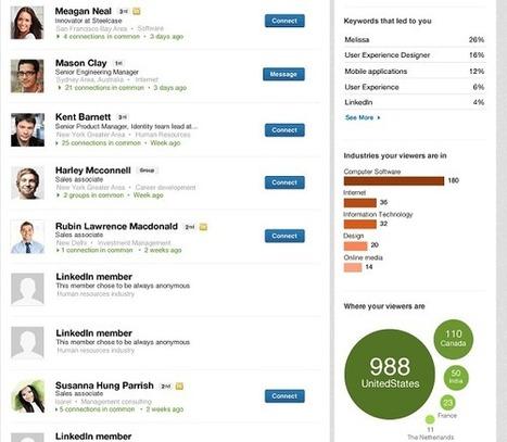 LinkedIn améliore 'Qui a consulté votre profil' | Les réseaux sociaux : quel usage dans les entreprises | Scoop.it