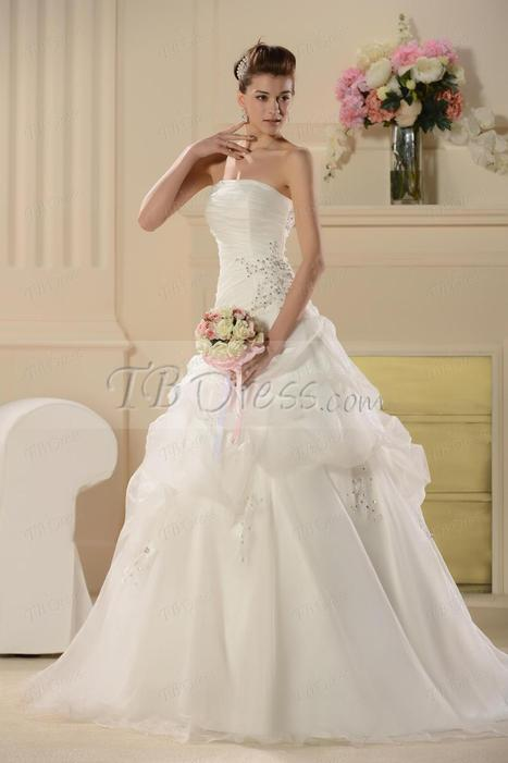 Gorgeous A-Line Strapless Embroidering Chapel Train Wedding Dress | fashiongril | Scoop.it