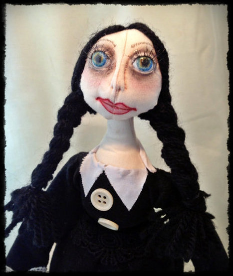 OOAK Handmade Wednesday Addams Cloth Art Pixie Doll   Cloth art dolls   Scoop.it