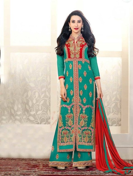 New Designer Aqua And Red Straight Plazo Suit | Women's Fashion & Jewellery Shopping | Scoop.it