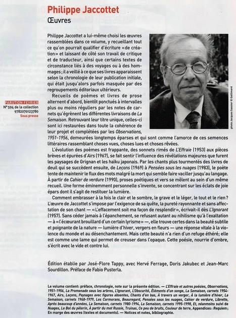 Philippe Jaccottet dans le bulletin Gallimard N° 501 de janvier-février 2014 | Jaccottet | Scoop.it