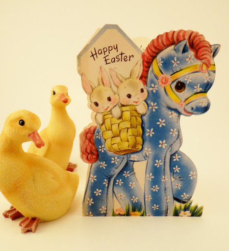 Happy Easter Bunnies, Horse - Vintage Easter Card | Horse and Rider Awareness | Scoop.it