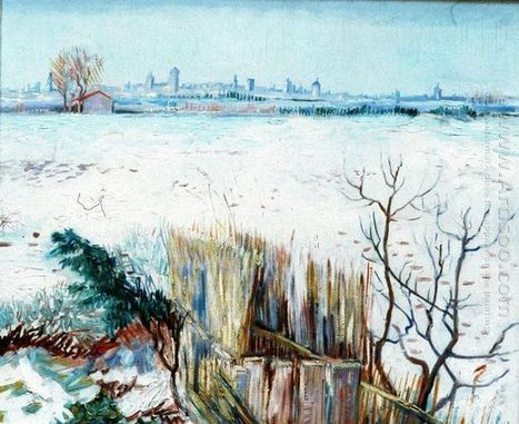 Oil painting reproduction: Vincent Van Gogh Snowy Landscape With Arles In The Background 1888 - Artisoo.com | Landscapes oil paintings | Scoop.it