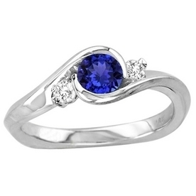 .45ct Round Tanzanite Ring With .11ctw Diamonds in 14k White Gold | Tanzanite Rings | Scoop.it