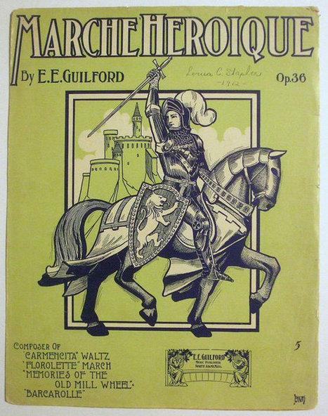 """Vintage 1907 Antique Sheet Music Titled """"Marche Heroique"""" Op 36 Medieval Knight on Horse 