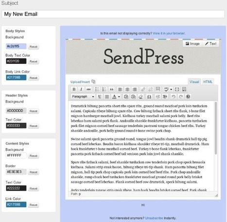 Create and Send Beautiful HTML Emails/Newsletters Directly From ... | Integrating an email management system into WordPress | Scoop.it