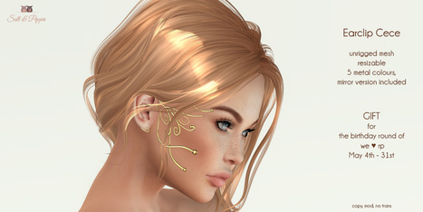 S&P Cece earclip, birthday gift for we love rp, May 4th | 亗 Second Life Freebies Addiction & More 亗 | Scoop.it