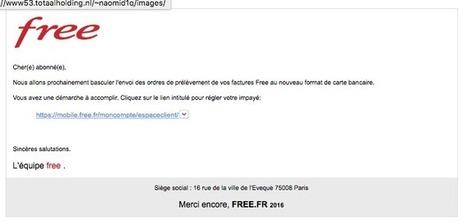 Une nouvelle vague de phishing, déjà utilisée auparavant, vise actuellement les abonnés Free   UseNum - Technologies   Scoop.it