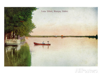 Nampa, Idaho - View of a Couple Canoeing on Lake Ethel, c.1920 Prints at AllPosters.com | Communities | Scoop.it