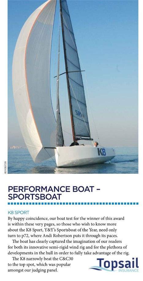 Yachts and Yachting Magazine Awards: Winners announced. Advanced Wing Systems K8 Sports wins Performance Sports Boat of the Year. | Soft Wing Sails | Scoop.it