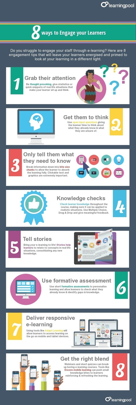 8 Ways to Engage eLearners [Infographic] | Teachning, Learning and Develpoing with Technology | Scoop.it