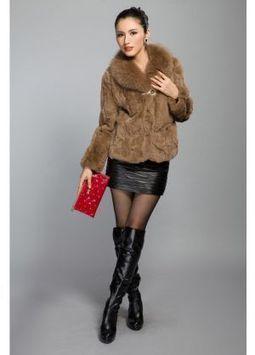 Women's Furs :: Fur Jackets :: Rabbit :: Sectioned Rex Rabbit Fur Jacket with Fox Fur Collar - | furs | Scoop.it