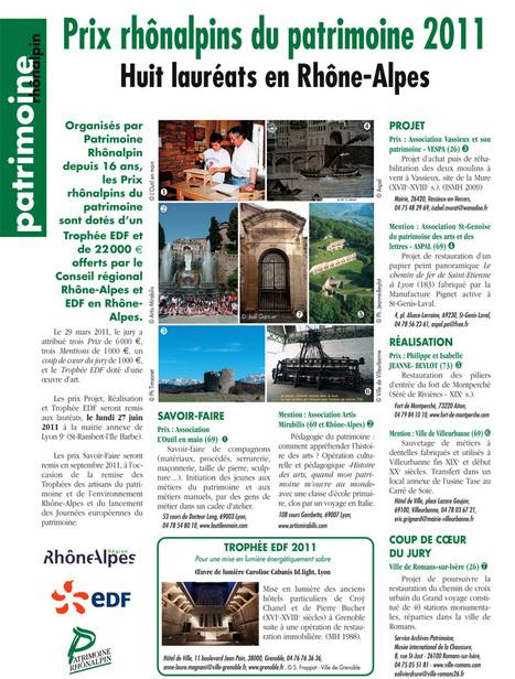 Prix rhônalpin du patrimoine 2011, 8 lauréats en Rhône-Alpes | juin 2011 | Patrimoine Rhônalpin | ARTIS MIRABILIS : toute la revue de presse | Scoop.it