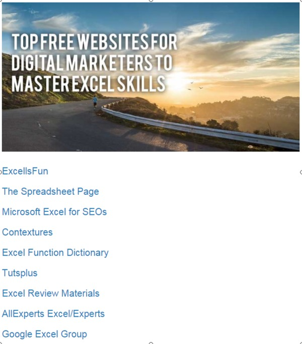 Top Free Websites for Digital Marketers to Master Excel Skills | Siteber | The Marketing Technology Alert | Scoop.it