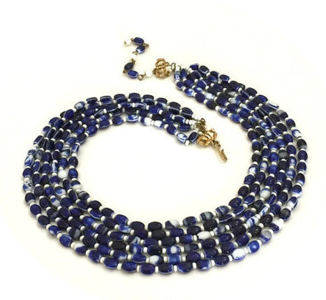 Hobe' Six Strand Necklace, Blue White Glass Beads, Designer Signed, Gold Tone Metal | Vintage Jewelry and Other Vintage Treasures | Scoop.it