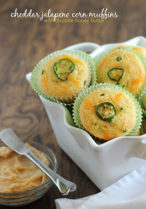 Cheddar Jalapeño Corn Muffins with Chipotle Honey Butter | The Man With The Golden Tongs Hands Are In The Oven | Scoop.it